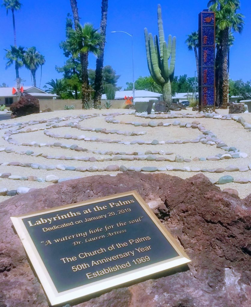 The Labyrinths at The Palms dedication plaque