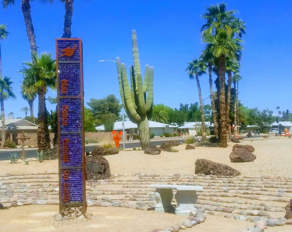 Church of the Palms UCC community labyrinths and peace pole